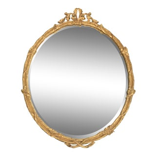 Traditional Gold Gilted Oval Mirror by Carvers Guild For Sale