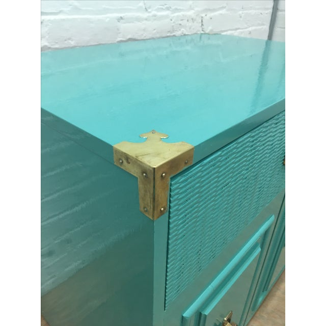 Dixie Lacquered Turquoise Faux Bamboo Credenza - Image 6 of 11