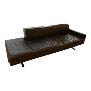 Poltrona Frau Black Leather 2-Seater Sofa With Bench