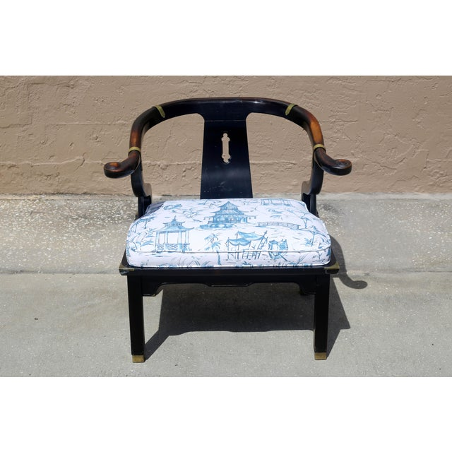 Asian Vintage James Mont Black Lacquer Ming Chair For Sale - Image 3 of 13