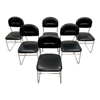 Mid Century Italian Chrome and Faux Leather Black Designer Dining Chairs - Set of 6 For Sale
