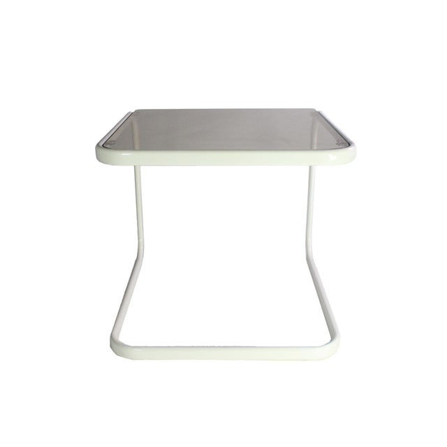 1970s 1970's Vintage Milo Baughman for Dia White & Smoked Glass Nesting Side Tables - Set of 3 For Sale - Image 5 of 6