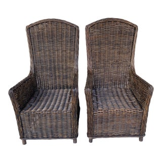 Hight Back Vintage Rattan Chairs a Pair. For Sale