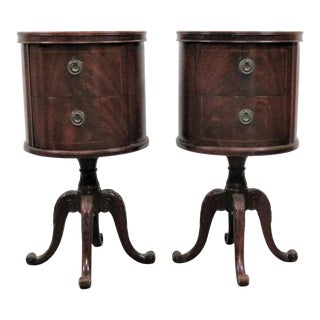 Regency Carved Round Mahogany Nightstands - a Pair
