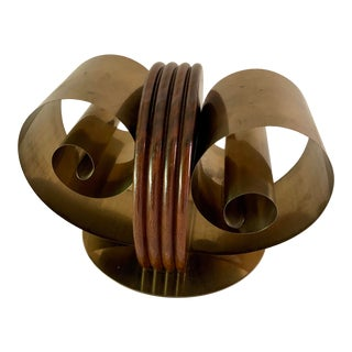 Art Deco Space Age Modernist Coil Brass and Wood Metal Bookends For Sale