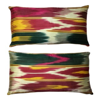 Vintage Silk Ikat Pillows - A Pair For Sale