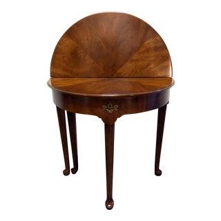 Henredon Walnut Round or Demilune Gateleg Accent Table