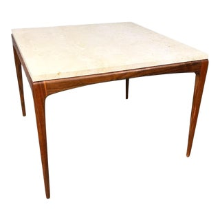 Mid Century Modern Marble Top Side Table For Sale