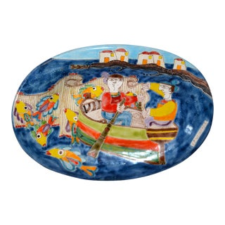 Italian Giovanni Desimone Hand Painted Pottery, Oval Wall Decor Plate, Fishermen For Sale