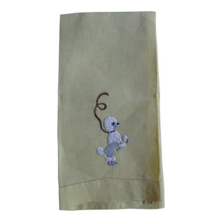 1950s Dancing Poodle Dog Hand Towel, in Yellow
