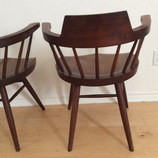 1950s 1950s Vintage Signed Nakashima Walnut Captain's Chairs - a Pair For Sale - Image 5 of 9