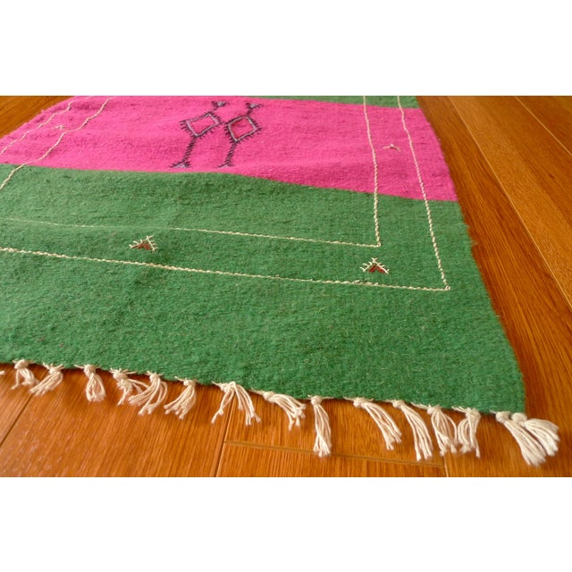 Moroccan Green & Pink Small Wool Rug - 1′9″ × 2′6″ - Image 4 of 6