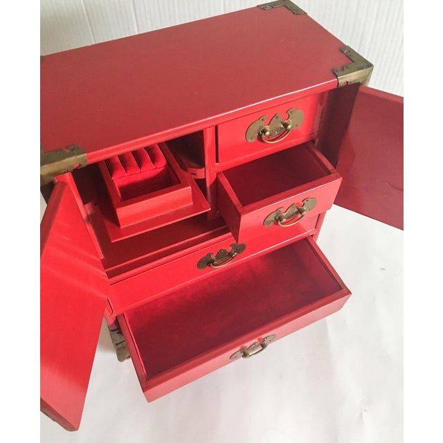 Vintage Red Lacquer Tansu Chest Jewelry Box - Image 11 of 11