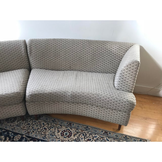 Curved Keller-Williams Vintage Mid Century Sectional Sofa - 3 Pieces For Sale - Image 4 of 9
