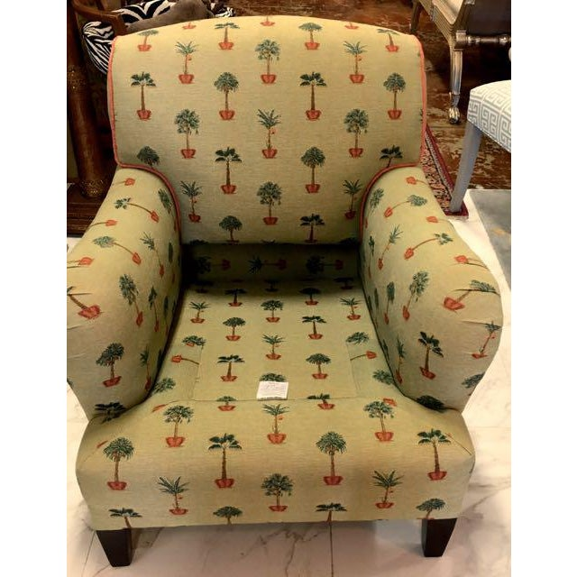 Traditional George Smith Yellow Upholstered Printed Club Chair - Image 5 of 11