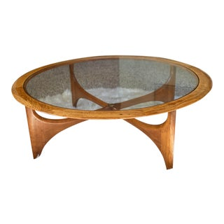 Mid Century Modern Lane Furniture Walnut & Glass Round Cocktail/Coffee Table For Sale