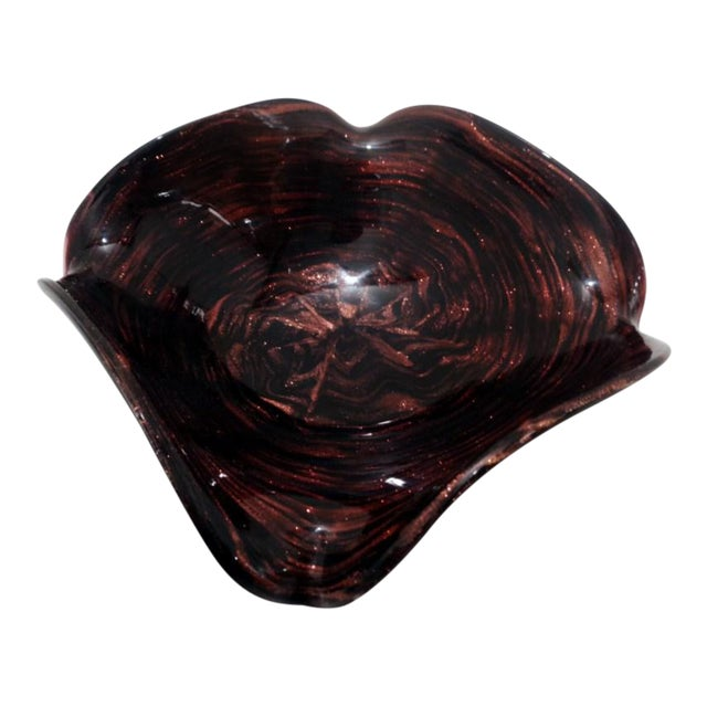Mid Century Venetian Murano Italy Swirl Dark Amethyst Art Glass Dish For Sale