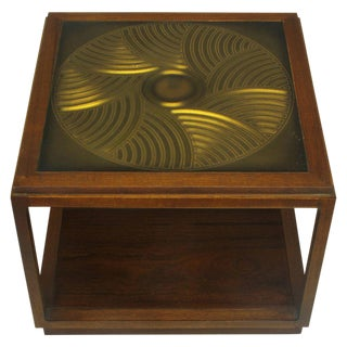 Bert England East Indian Laurel Side Table With Etched Brass Top for Baker For Sale