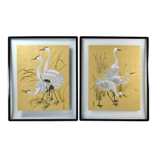 Chinese Tempera Bird Paintings White Egrets Whooping Cranes by MI Chou - a Pair For Sale