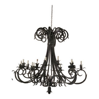 Massive Wrought Iron Chandelier For Sale