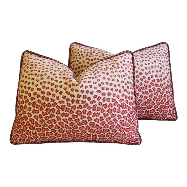 "Colefax & Fowler Leopard Print & Chenille Feather/Down Pillows 22"" X 16"" - Pair For Sale"