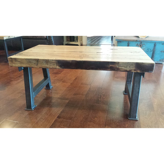 Industrial Reclaimed White Oak Coffee Table - Image 3 of 7
