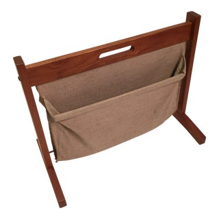 1960s Vintage Brdr. Furbo Danish Teak and Natural Canvas Double Sling Magazine Rack For Sale