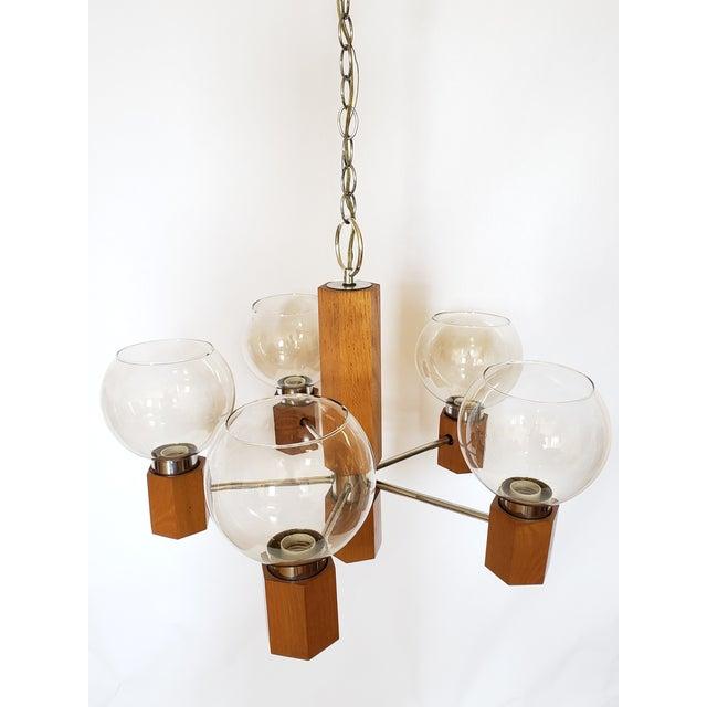 Mid Century Modern Danish Teak Wood and Chrome Chandelier For Sale - Image 4 of 12