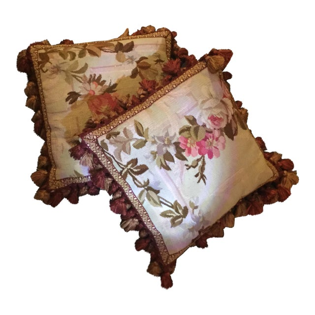 Aubusson Floral Decorative Pillows - A Pair - Image 1 of 5