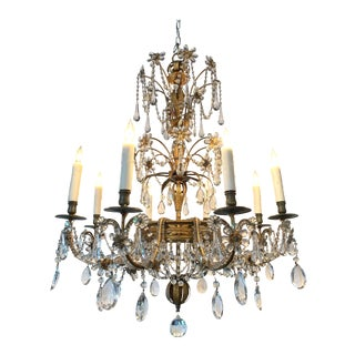 19th Century Italian Beaded Crystal and Gilt Metal Chandelier For Sale