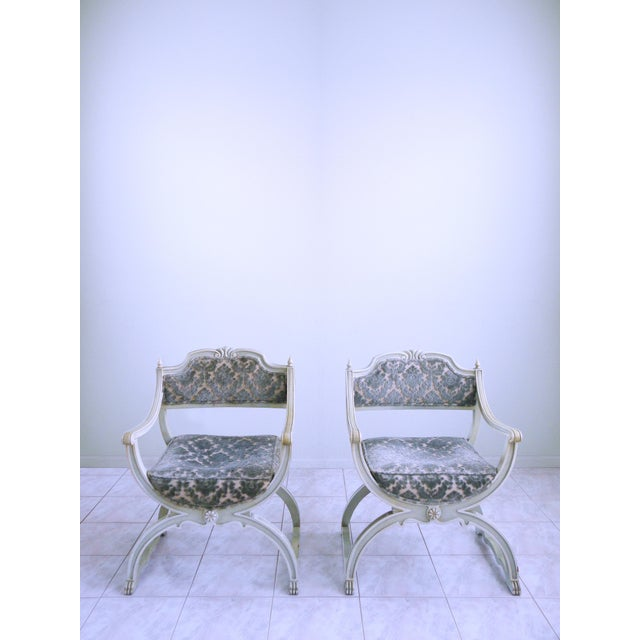 Gems of the mid century, these stylish, luxurious, and rare Curule, Savonarola Chairs exude an elegance that is beyond...