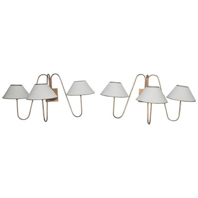 Late 20th Century Pair of Three Light Bouquet Wall Sconces, After Jean Royère For Sale - Image 5 of 5