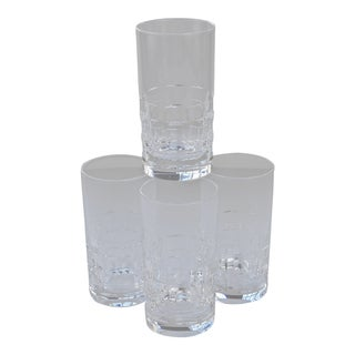 Hadeland of Norway Mid Century Crystal Highball Glasses- Set of 4 For Sale