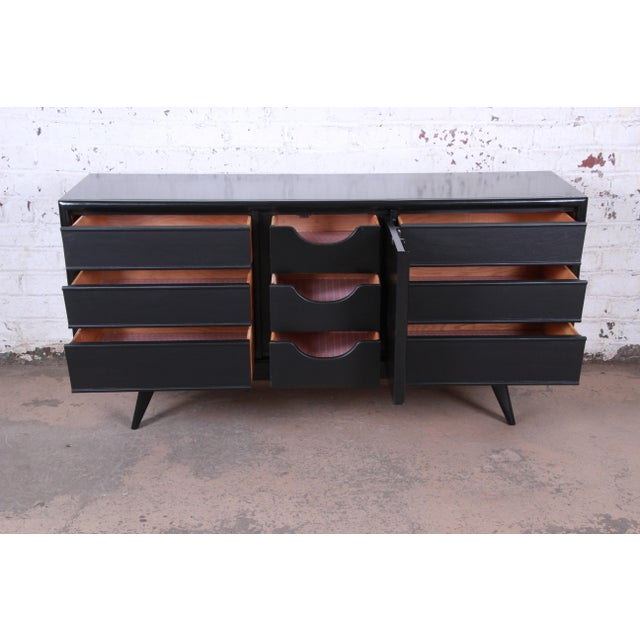 Wood Mid-Century Modern Ebonized Walnut Triple Dresser or Credenza by United For Sale - Image 7 of 11