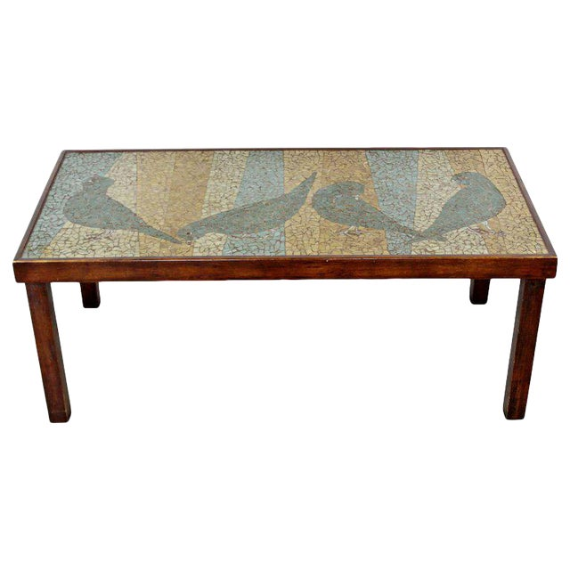 Mid-Century Modern Birds Mosaic Tile Art Top Rectangular Wood Coffee Table, 1960s For Sale