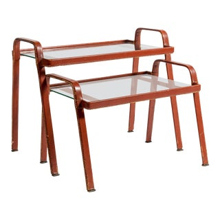 Stitched Side Tables by Jacques Adnet - A Pair For Sale