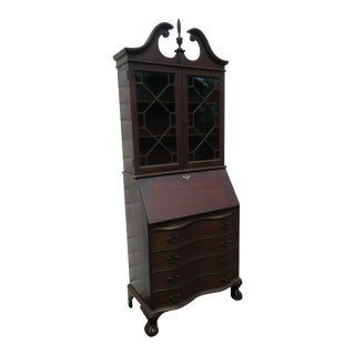 Mahogany Serpentine Front Tall Ball and Claw Feet Secretary Desk Cabinet For Sale