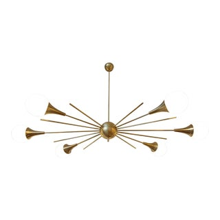 Mid-Century Modern Italian Stilnovo Style Brass & White Glass Sputnik Chandelier 1960s For Sale