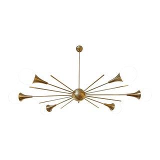 Mid-Century Modern Italian Stilnovo Style Brass & White Glass Sputnik Chandelier 1960s