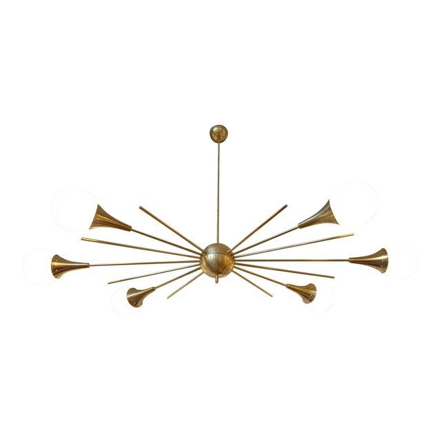 Mid-Century Modern Italian Stilnovo Style Brass & White Glass Sputnik Chandelier 1960s For Sale