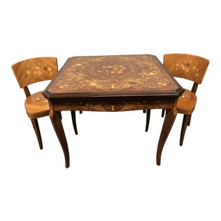 1960s Italian Marquetry Convertible Gaming Table and Chairs - 3 Piece Set