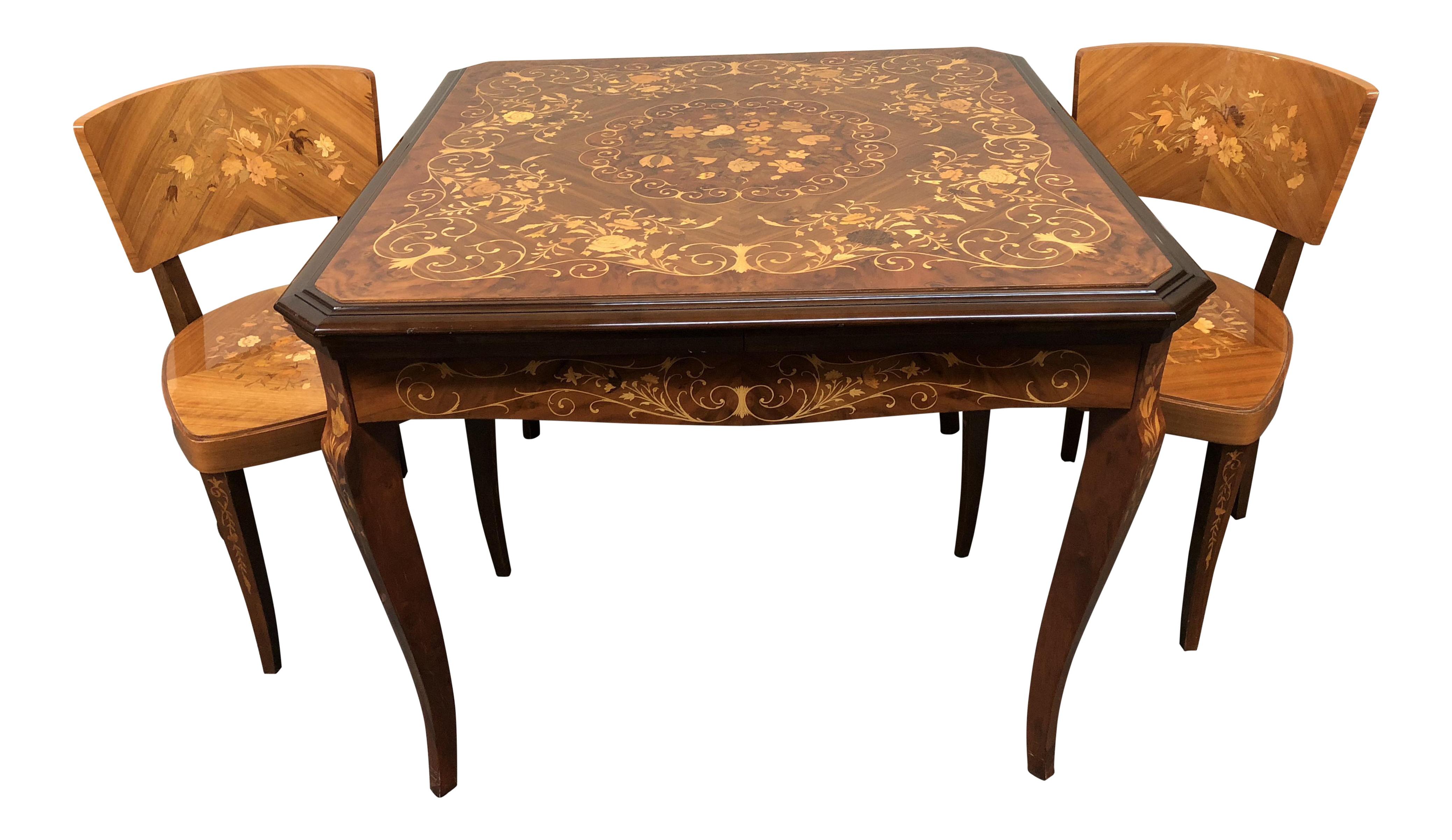 1960s Italian Marquetry Convertible Gaming Table And Chairs   3 Piece Set