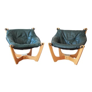 Odd Knutsen Teak Luna Chairs in Green Aniline Leather - a Pair For Sale