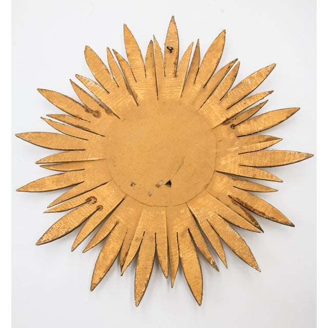 Mid Century French Giltwood Sunburst Convex Mirror For Sale In Houston - Image 6 of 7