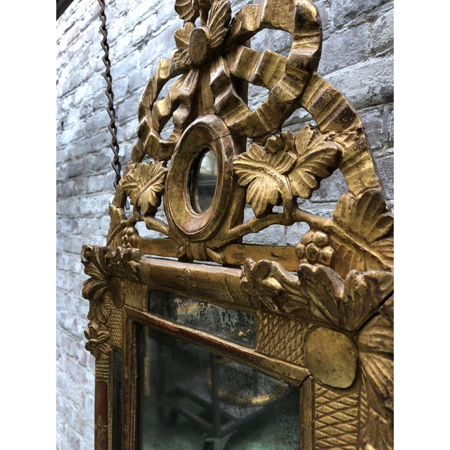 Gold Beautiful Small 18th Century Mirror Louis XVI For Sale - Image 8 of 12