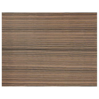 Handwoven Flat Weave Striped Rug - 9′ × 12′ For Sale