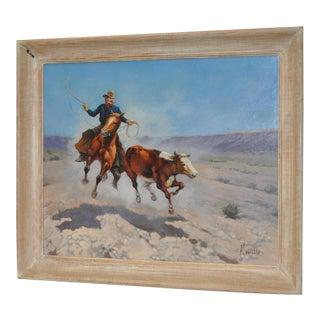 "Cowboy ""Roping a Runaway"" Vintage Western Oil Painting by K. Vetillo"