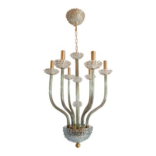 Mid Century Modern Clear & Khaki Green Murano Glass Chandelier by Barovier 1970s For Sale