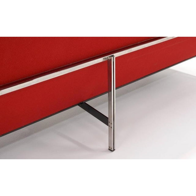 Silver Florence Knoll Parallel Bar Three-Seat Armless Sofa Red Wool Fabric For Sale - Image 8 of 8