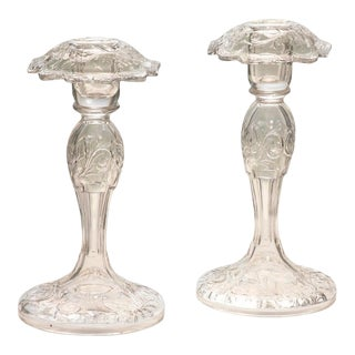 Hand Blown Pairpoint Crystal Candlesticks With Square Bobeches For Sale